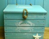 Crab Crate Side Table Treasure Chest Trunk in Turquoise - Ready to Ship