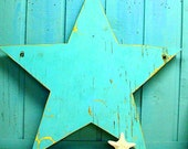 Turquoise Weathered Wood Star - 29 inches