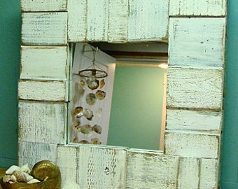Mirror Weathered Wood Beach Farmhouse Rustic Cottage Wall Decor by CastawaysHall