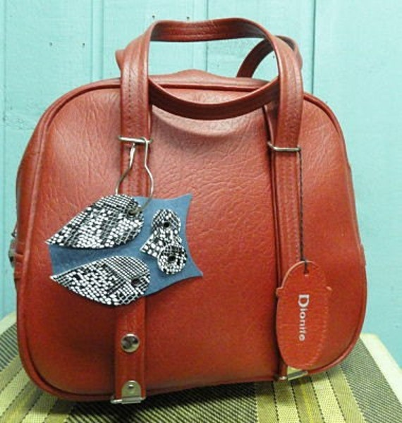 Vintage  Red Luggage Tote Bag by Dionite with Upcycled Owl Tag