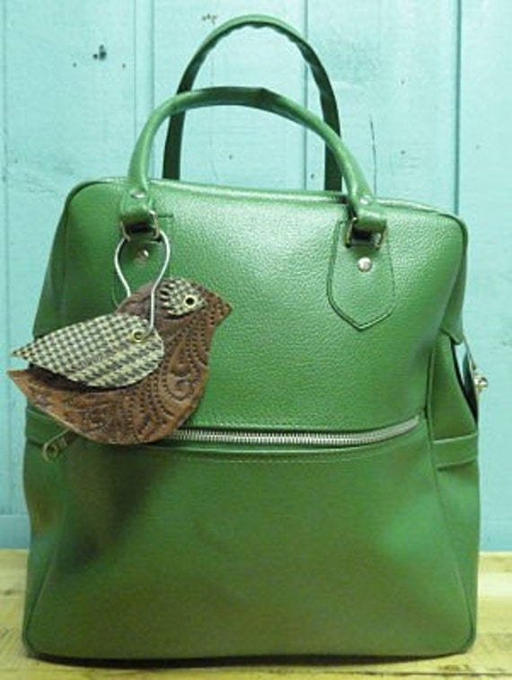 Carryon Bag Vintage Forest Green Luggage Tote Bag with Upcycled Bird Tag