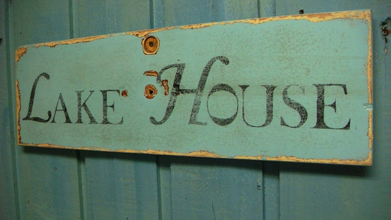 Lake House Light Turquoise Layered Paint Sign