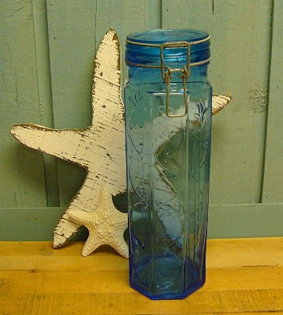 Vintage Sea Glass Blue Spaghetti Pasta Storage Jar Cannister