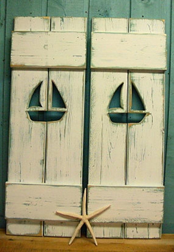 One White Weathered Sailboat Cutout Wood Beach House Shutter