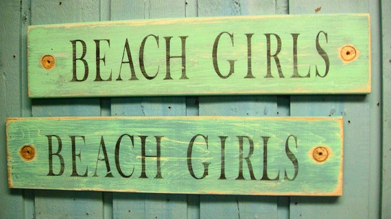 Beach Girls Sea Glass Green and Turquoise Layered Paint Sign