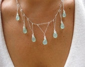 Raindrops from a Silver Lined Cloud - Chalcedony and Silver Necklace