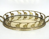 Brass Faux Bamboo Camel Tray Hollywood Regency Gold Serving Ottoman