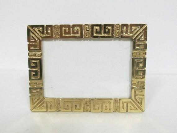 Gold Hollywood Regency Greek Key Picture Frame Photo 3.5x5
