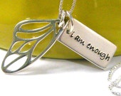 i am enough butterfly wing hand stamped word tag sterling silver necklace small - PureRoxInPrint