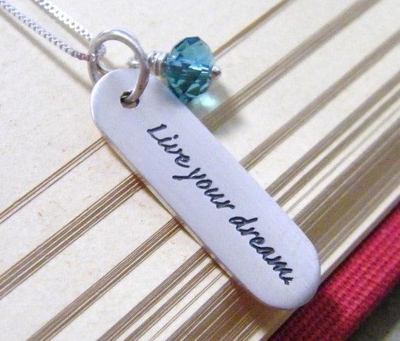 live your dream new career promotion graduation traveler sabbatical sterling silver necklace with swarovski crystal