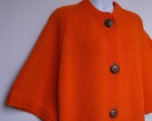 SALE vintage mod orange sweater coat M/L