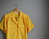 90s golden yellow slouchy blouse / boxy top