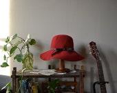 50s merlot red wool felt floppy hat / bohemian
