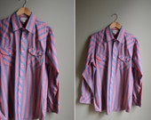 mens 70s blue striped western shirt / pearl snap button / size large l