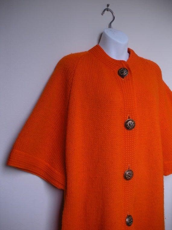 SALE vintage mod orange sweater coat M/L