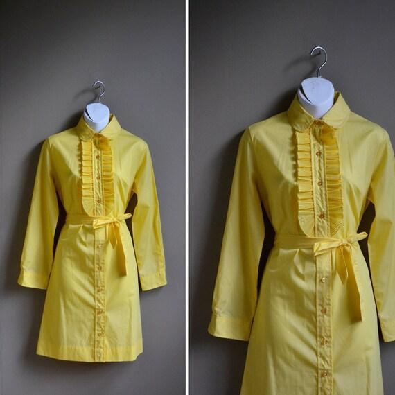 60s mod yellow tuxedo ruffle dress / peter pan collar / size m l