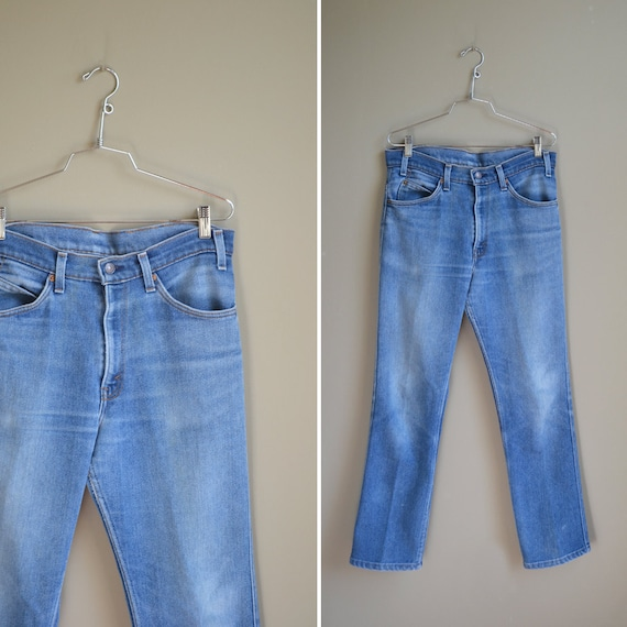 70s faded Levi's boot cut blue jeans / 34 x 32