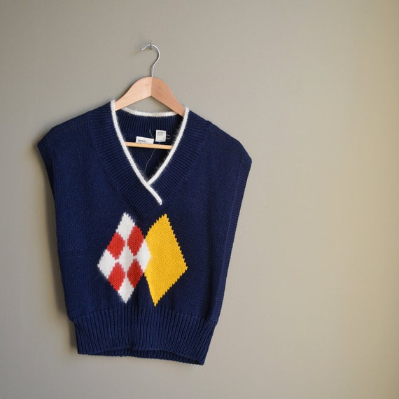 80s navy blue knit sweater vest / argyle / medium m
