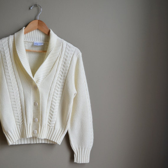 70s cream woodland cable knit cardigan sweater / size small s m
