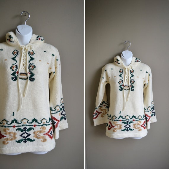 70s cream hippie folk print bell sleeve sweater / hooded sweater