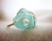SALE Sea Glass Ring, Blue Sea Glass Ring, Sea Glass Jewelry