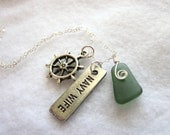 Navy wife sea glass pendant