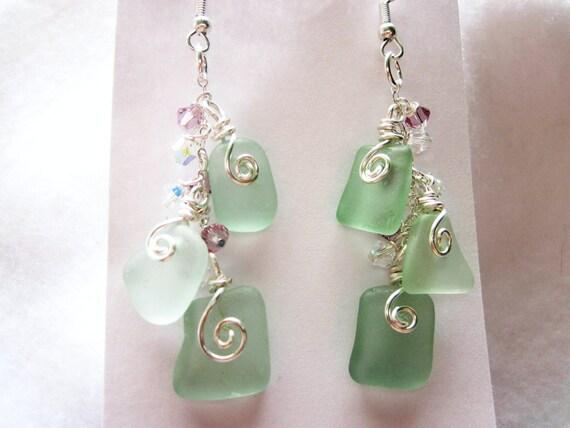 Sea Glass Earrings, Sea Foam Green/blue Sea Glass Earrings, Drilled Sea Glass Earrings, Bangle Earrings, Swarovski, Sea Glass Jewelry