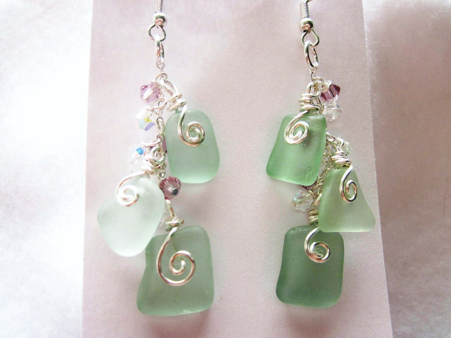 sea glass earrings sea foam green blue sea glass earrings