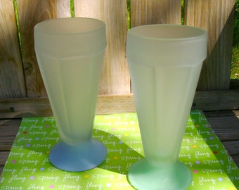 """Soda Shoppe"""" Glasses-Frosted Blue & Green-Set of 2-1970's"""