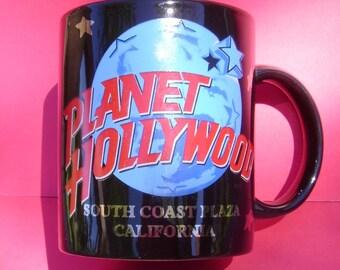 "Black, ""Planet Hollywood"" Coffee Cup / Mug -- black, blue, red, ATCTteam"