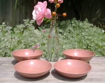 """4 Melmac Cereal  Bowls - MID CENTURY - """"1950's Cocoa"""" - Small Serving Size"""