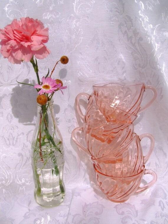 Peach/Pink Glass Coffee Cups - Vintage Swirl Pattern - Set of 5
