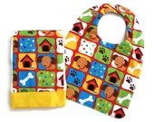 Baby Boy Bib and Burp Cloth Set  With Colorful Puppies