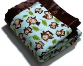 CUSTOM ORDER for Sandy Baby Boy Owl Bib and Burp to match Blanket