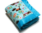 Baby Girl Blanket with Flannel Puppy Dogs in Pink and Blue