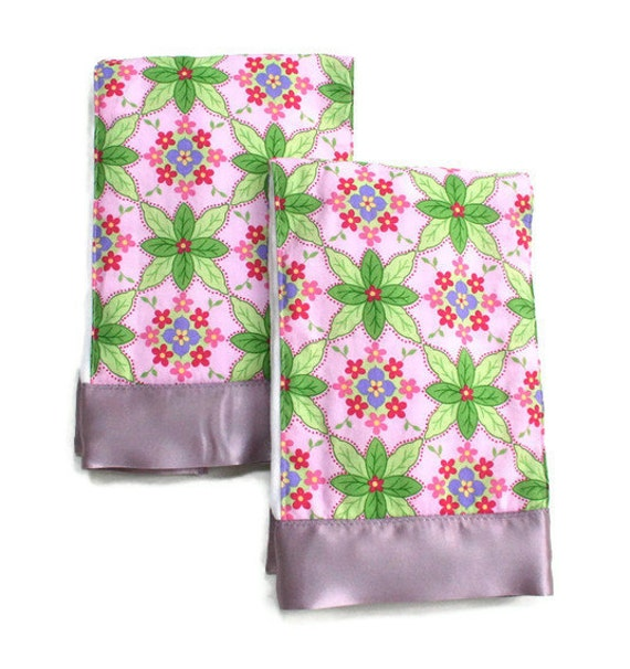 Premium Baby Girl Burp Cloth Set with Pink and Lavender Flowers