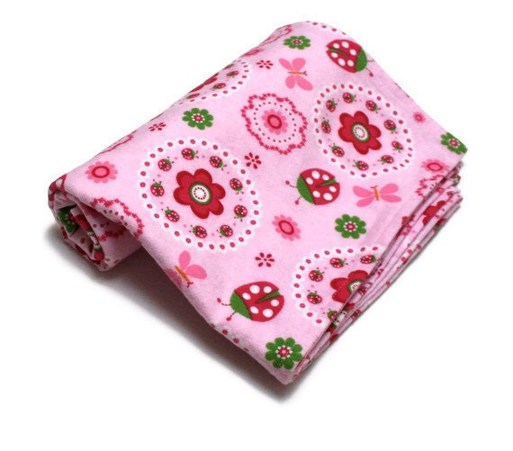 Baby Girl Swaddle Blanket in Flannel with Lady Bugs and Flowers in Pink and Red