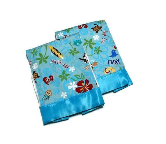 Baby Boy Burp Cloth Set with Aloha Hawaiian Fabric