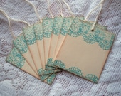 LACE Stamped Gift Tags - Aqua, Teal, Blue ...Vintage Inspired, Shabby
