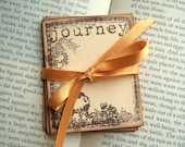 Journey Journal Cards - Floral Border, Vintage Inspired, Brown, Cream, Stamped, Mini Albums, Journaling