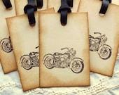 10 Vintage Motorcycle Tags - Black Ribbon, Rustic, Masculine - SweetlyScrappedArt