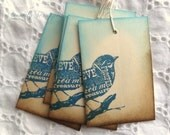 LAST SET Blue Bird Tags - Two Colored, Vintage Inspired, Blue, Brown, Manila, Cream 8