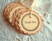 THANK YOU Tags Vintage Inspired - Scalloped Circle - Hand Aged, Chocolate Brown, Manila Cream