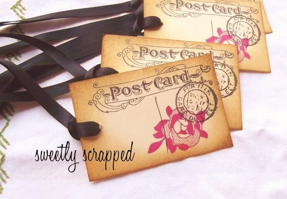 Vintage Postcards from Paris, with Roses, Postage, Aged, Black Satin Ribbon, Gift Tags
