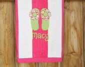 Personalized Flip Flops Stripped Beach Towel