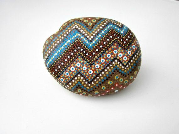 Hand-Painted Stone // Original Nature Art // RUSTIC HOME - Office Decor // Rock Art // TRIBAL Native Art