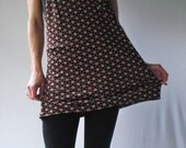 1970s Vintage Spaghetti Strap Dress or Top with Pink and Brown Acorn Print S M L