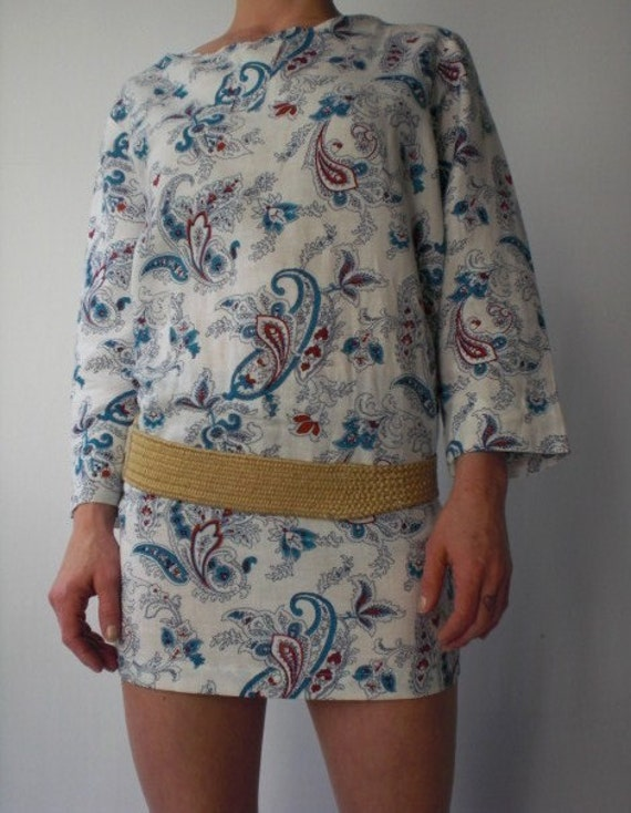 RESERVED -  Vintage 1970s White Linen Tunic or Mini Dress with Paisley Pattern S M