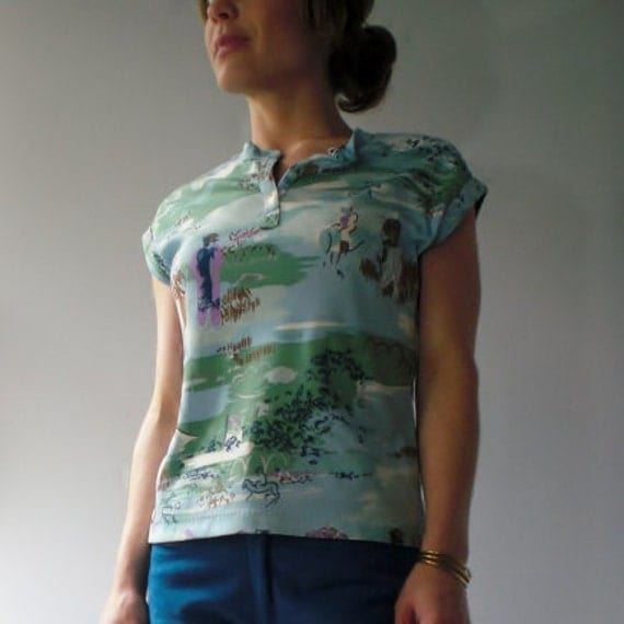 1970s Vintage Short Sleeved Jersey T-Shirt with Outdoor Scenery Print - XS/S