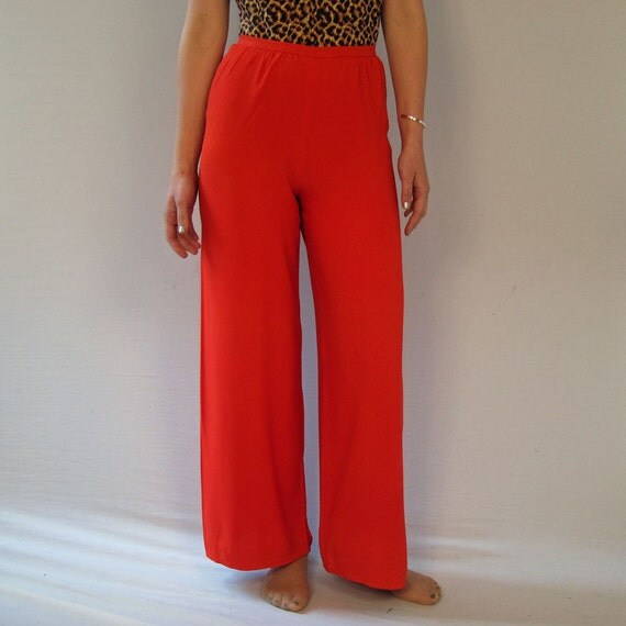 1950s Vintage Draped Silk Palazo Pants in Red with High Waist and Wide Leg  Small